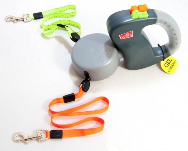 Wigzi Automatik-Leine, Gel-Griff farbe grau für 2 Hunde mit Drehgelenk,